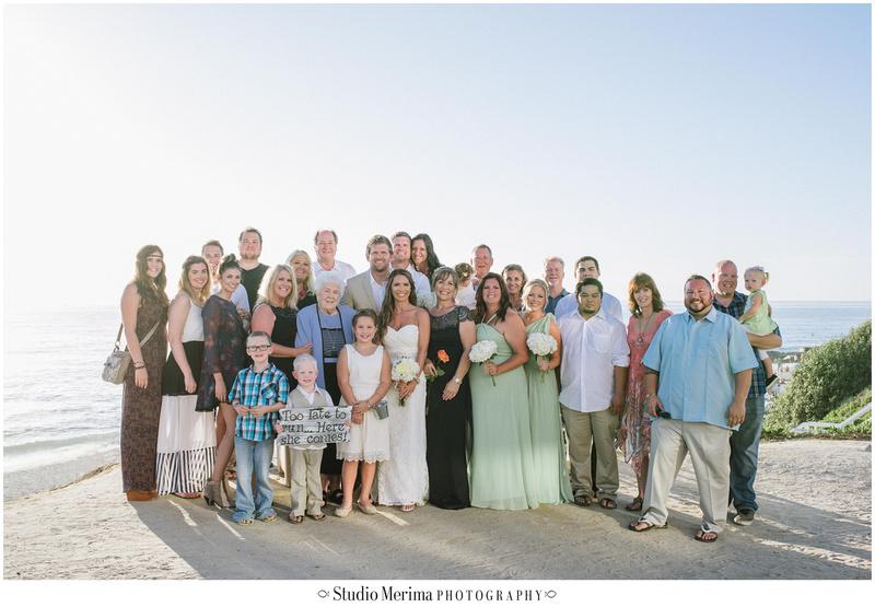 la jolla wedding photography, windansea small wedding, windansea ceremony, large family portraits