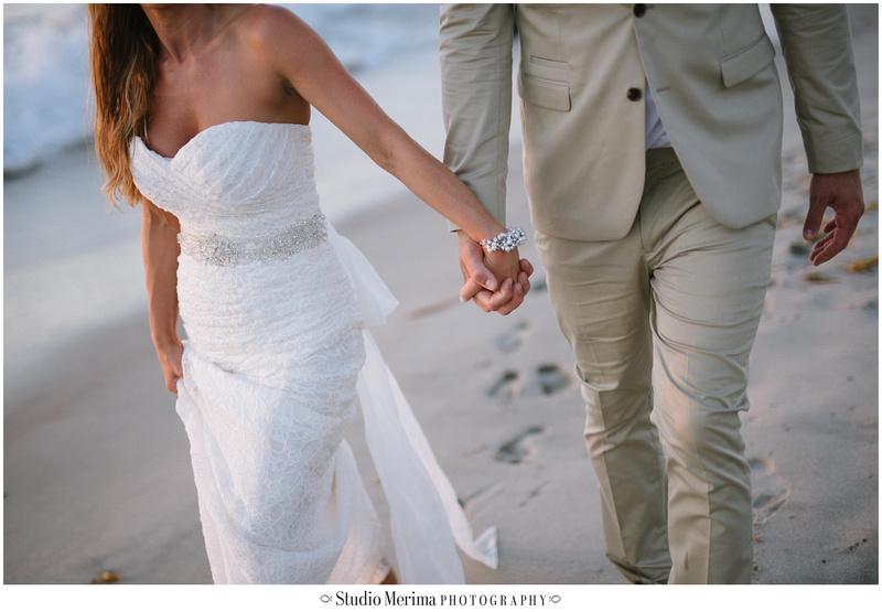 la jolla wedding photography, windansea small wedding, windansea wedding portraits, beach wedding photography, san diego beach wedding photography, bride and groom walking holding hands