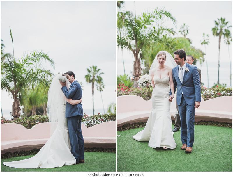 la valencia hotel wedding, la jolla wedding, la valencia hotel wedding ceremony, first kiss