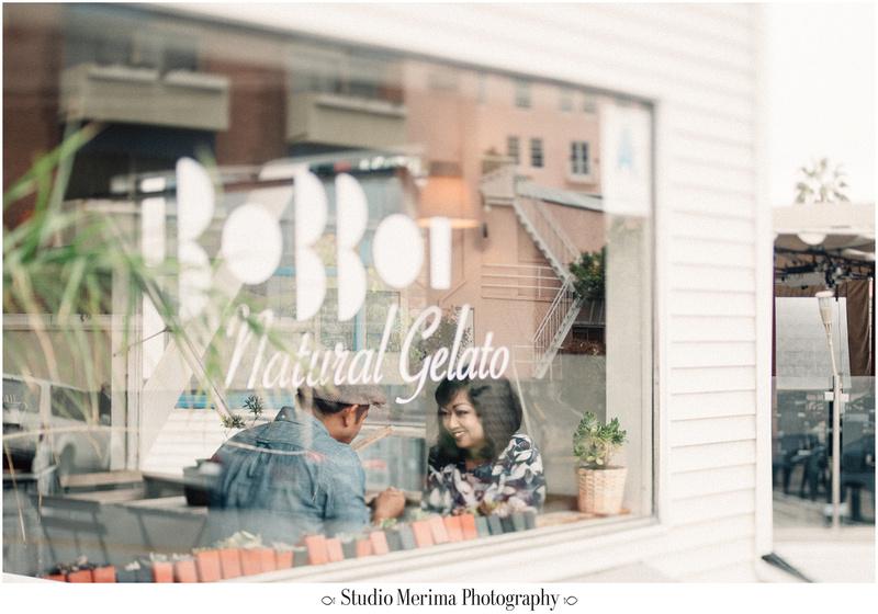 la jolla cove engagement, san diego engagement, tilt shift engagement, coffee shop engagement, bobboi gelato engagement photography