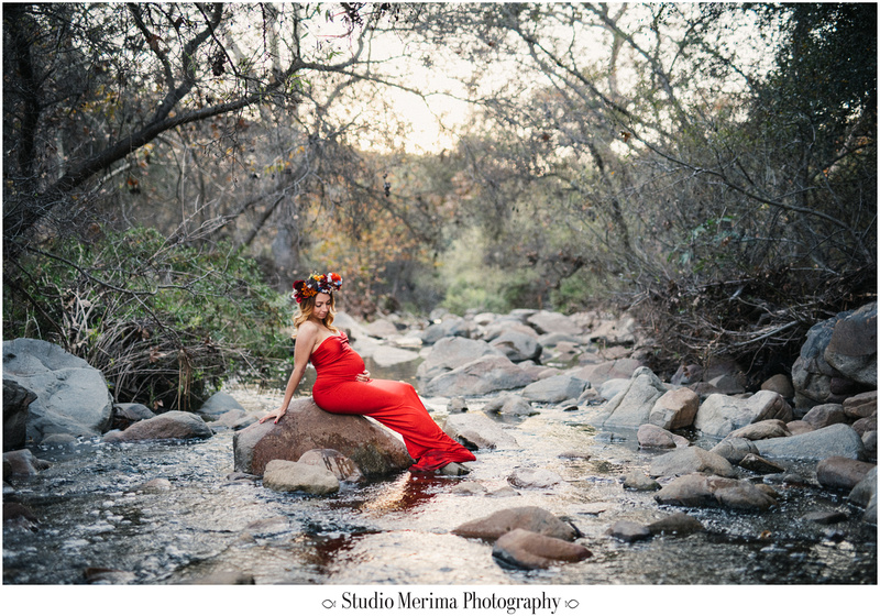 san diego forest photography, san diego maternity photographer, elfin forest maternity, flower crown maternity, red dress maternity, standing in water maternity, etherial maternity san diego, san diego river