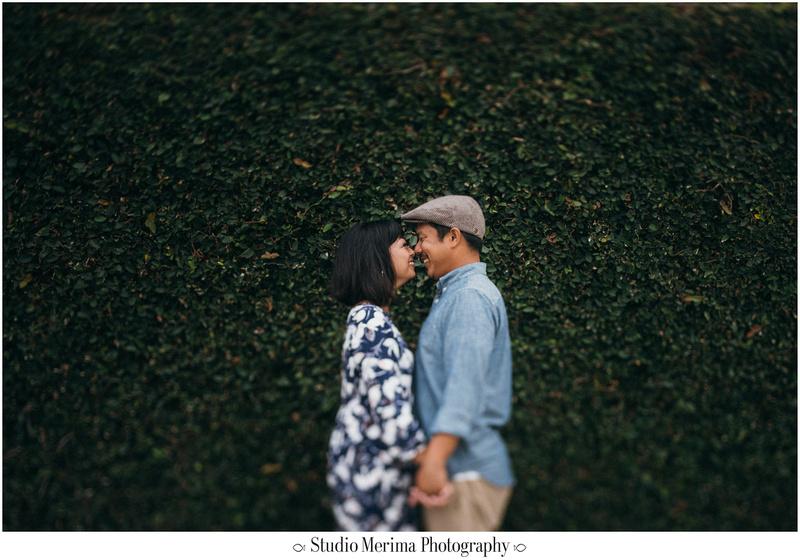 la jolla cove engagement, san diego engagement, tilt-shift engagement, green wall portrait