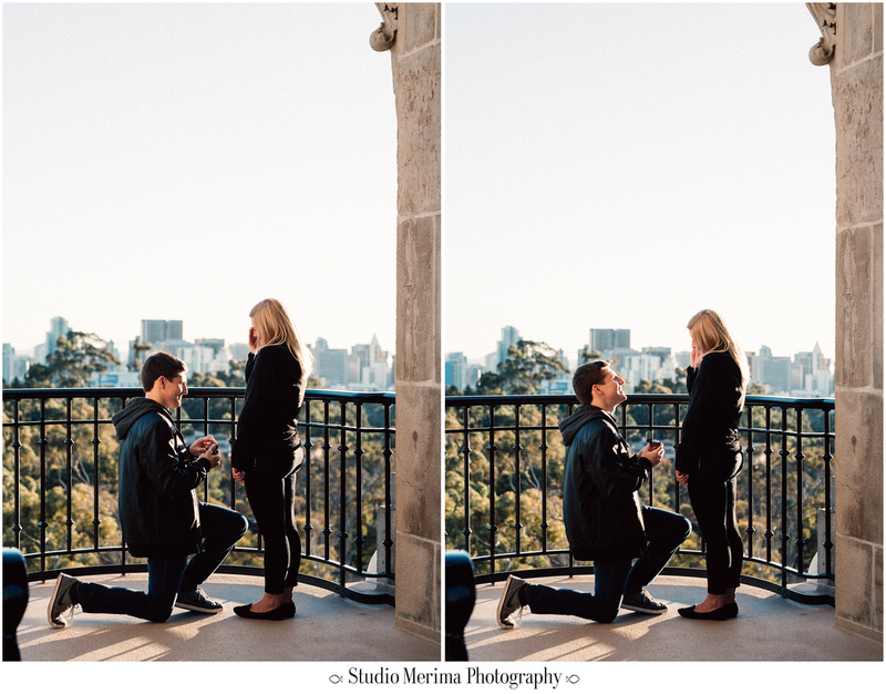 balboa park proposal, museum of man tower, san diego engagement, down on one knee san diego