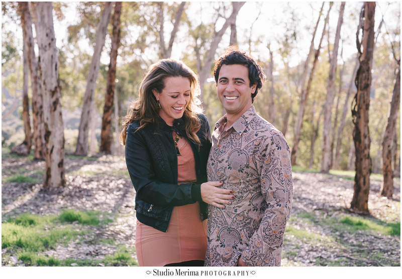 eucalyptus trees engagement, san diego couples photography, morley field engagement photography, laughing photography