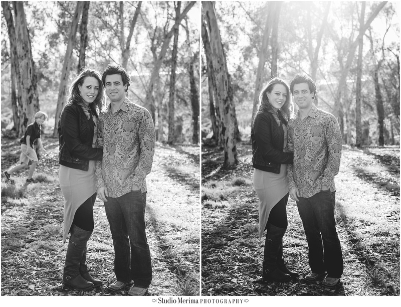 eucalyptus trees engagement, san diego couples photography, morley field engagement photography, engagement photobomb