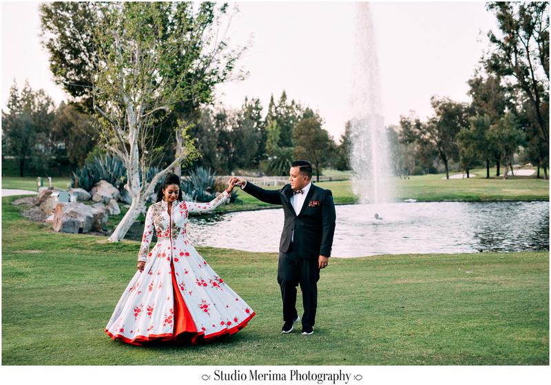 """indian wedding"", ""filipino wedding"", ""san diego wedding photographer"", ""studio merima"", ""rancho bernardo inn wedding"", ""red reception dress"", ""twirling indian wedding dress"""
