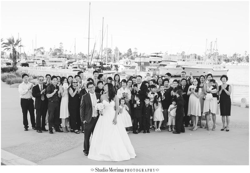 large family portrait, large group wedding portrait, coronado wedding photography
