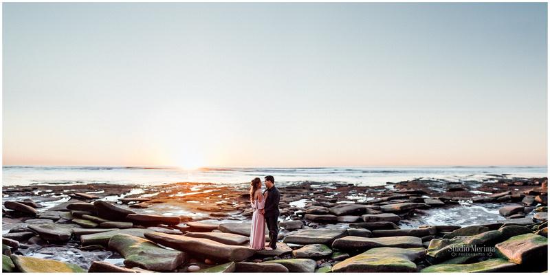 sunset cliffs engagement, san diego beach engagement, san diego wedding photographer, brenizer method, low tide, sunset engagement