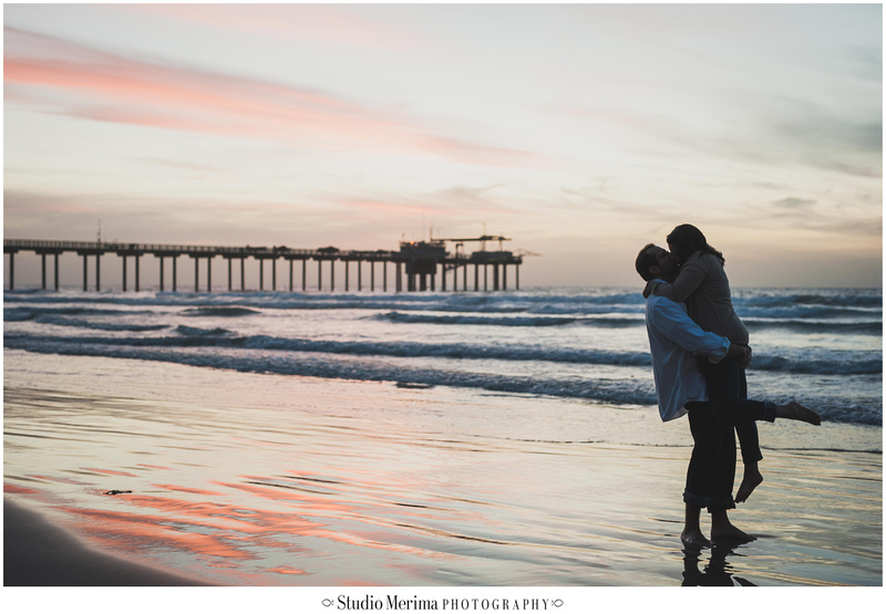 'scripps pier sunset engagement photography' 'sunset engagement photography' 'silhouette scripps pier' 'la jolla sunset engagement photography'