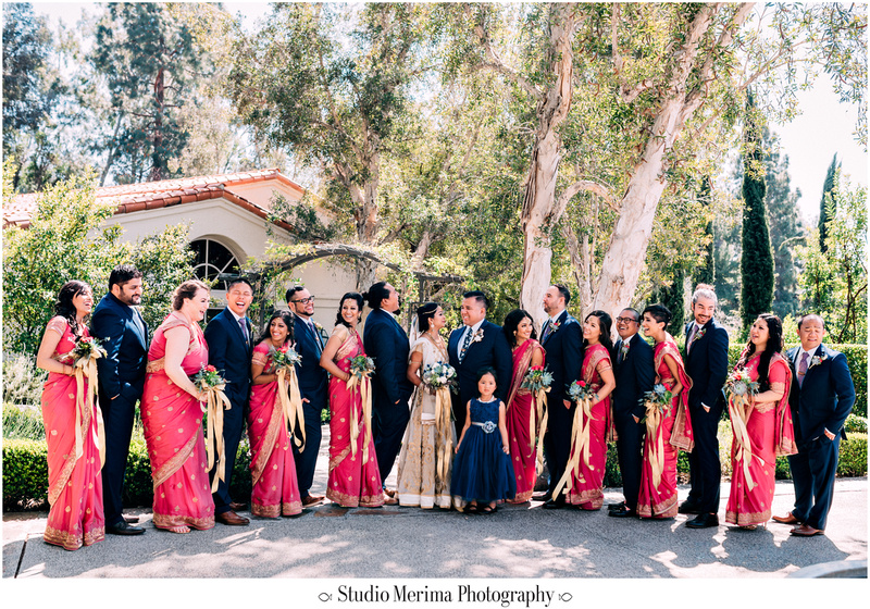 """indian wedding"", ""filipino wedding"", ""san diego wedding photographer"", ""studio merima"", ""rancho bernardo inn wedding"", ""large wedding party"" ""colorful wedding party"""