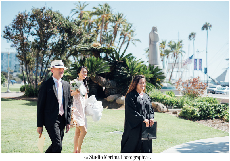 """san diego courthouse wedding"", ""san diego elopement photography"", ""outside san diego courthouse ceremony"""