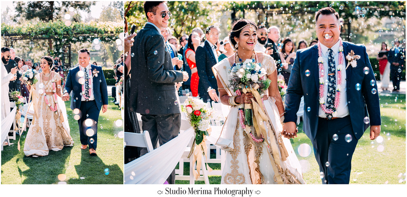 """indian wedding"", ""filipino wedding"", ""san diego wedding photographer"", ""studio merima"", ""rancho bernardo inn wedding"", ""bubbles at wedding ceremony exit"", ""wedding exit"", ""blowing bubbles at wedding"""