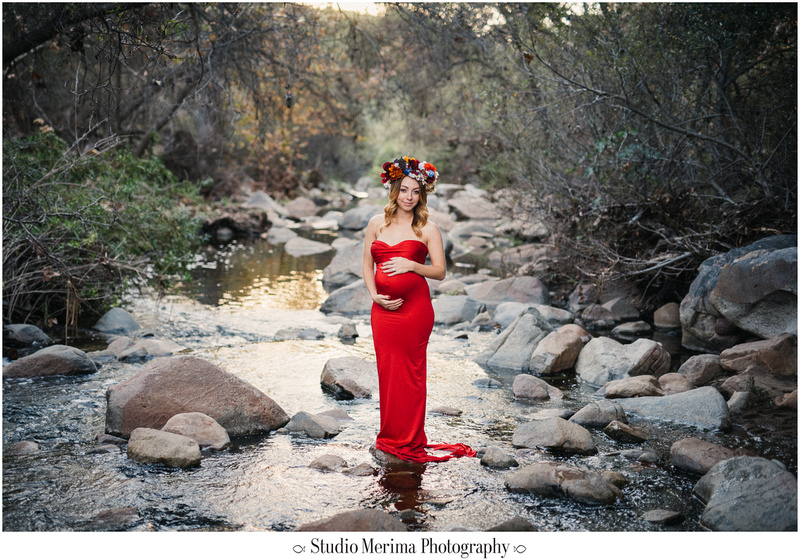 san diego forest photography, san diego maternity photographer, elfin forest maternity, flower crown maternity, red dress maternity, standing in water maternity, etherial maternity san diego