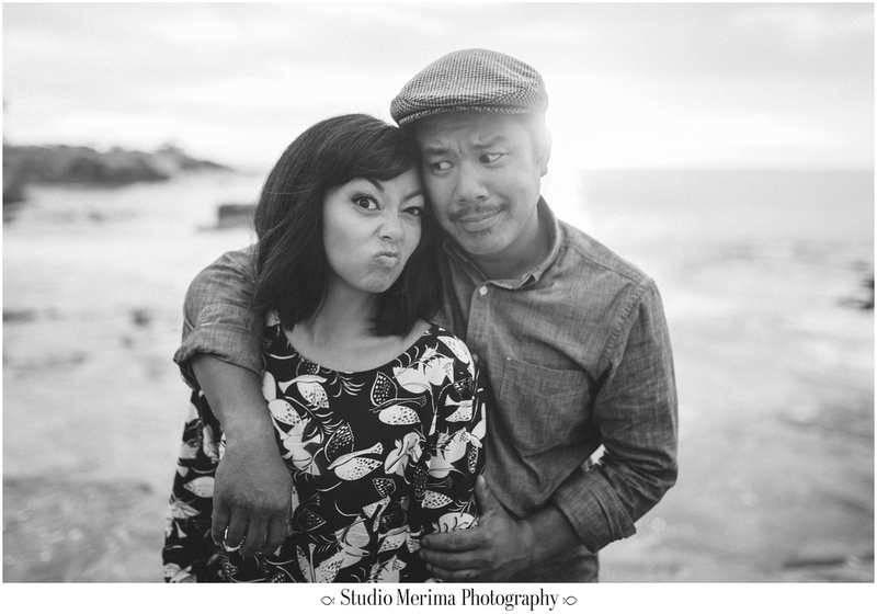la jolla cove engagement, san diego engagement, silly goofy engagement photo