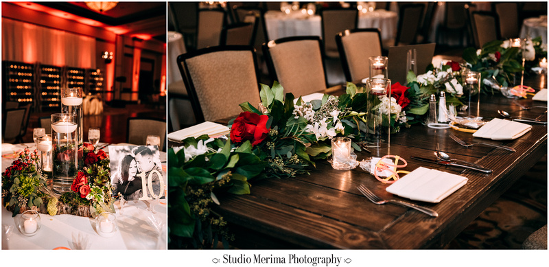 """indian wedding"", ""filipino wedding"", ""san diego wedding photographer"", ""studio merima"", ""rancho bernardo inn wedding"", ""reception with succulents and red roses"""